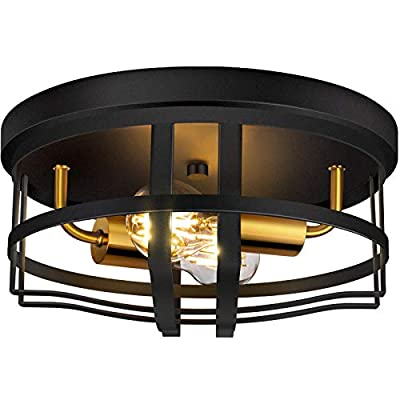 Amazon - 50% Off on  Flush Mount Ceiling Light, 12 Inch 2-Light Rustic Ceiling Light Fixture in Black Finish for Entryway