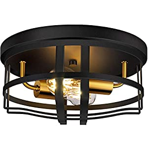 ROTTOGOON Flush Mount Ceiling Light, 12 Inch 2-Light Rustic Ceiling Light Fixture in Black Finish for Entryway, Hallway, Foyer, Dining Room, Living Room