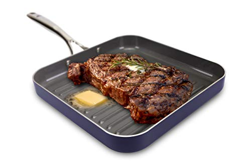 EaZy MealZ Non-Stick Square Grill Pan, Large, 10.5'/BLUE