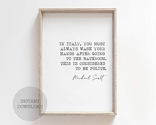 Dwi24isty Farmhouse Frame Wood Sign, Michael Scott Office Tv Show in Italy You Must Wash Your Hands Print Wall Art Decor Signature Quote Quotes Polite Gift, 8 x 12 Inch Rustic Wood Sign with Frame