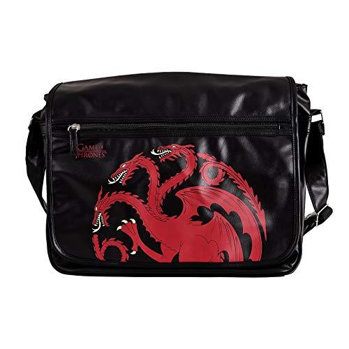 Elbenwald Game of Thrones College Tasche Targaryen Drachen Wappen 41x33x11cm schwarz
