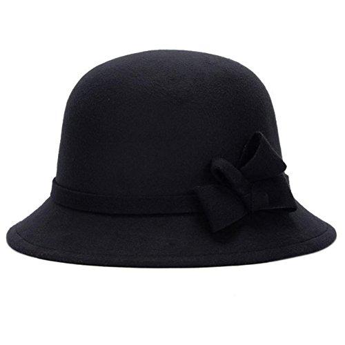 Leisial™ Elegant Warm Halten Damen Fischerhüte Herbst und Winter Dame Hut Bogendekoration Fischerhüte Schwarz 58CM