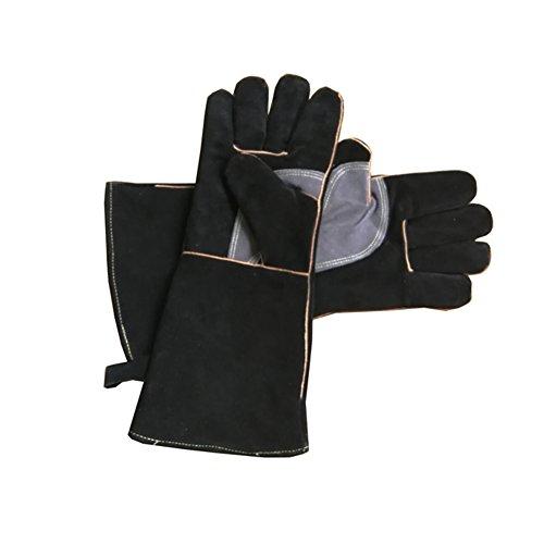 Guantes de piel resistentes al fuego con costuras de Kevlar, ideales para chimenea, estufa, horno, parrilla, soldadura, barbacoa, cerdo, soporte para
