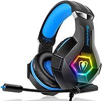 Gaming Headset für PC PS4 Xbox One, 7 Farbe RGB-LED Licht, Surround Sound Gaming Kopfhörer mit Mikrofon für Laptop Mac...
