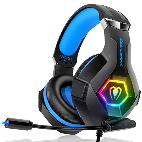 Beexcellentes Gaming Headset für PS4 PC Xbox One, 7 Farben RGB LED Licht, 3.5mm Surround Sound Kabelgebundener Gaming Kopfhörer mit Mikrofon für Laptop Mac Handy Tablet Blau