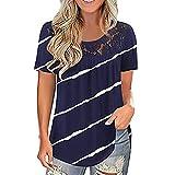 XOXSION Camiseta de verano para mujer, con estampado de encaje, cuello redondo, manga corta, túnica A Marine S