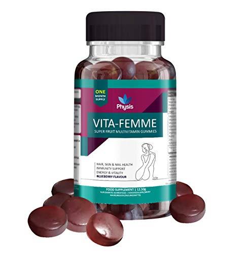 Physis Multivitamin Gummies for Women | 30 Gummies | Blueberry Flavour | Women's Multivitamins | Chewable Vitamin with Vitamins A,C, D, Biotin, Zinc | Boost Hair Skin & Nails | Improve Energy & Health