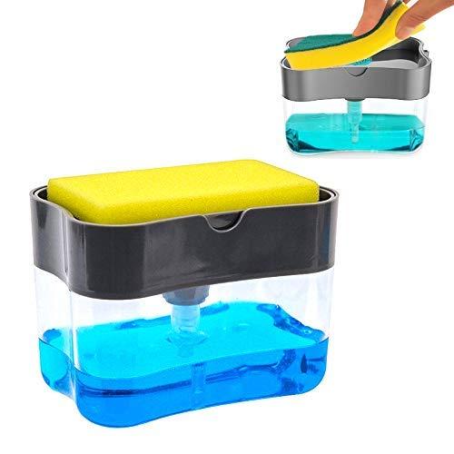 Dispensador de jabón y kit de esponja 3 en 1, organizador de fregadero con soporte de esponja, dispensador de jabón tipo bomba, dispensador de detergente, soporte para utensilios de cocina