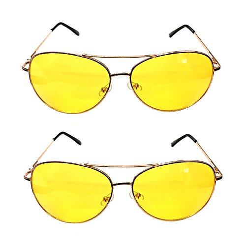 G&M 2x Nachtsichtbrille Kontrastbrille Nachtfahrbrille Nachtbrille Retro