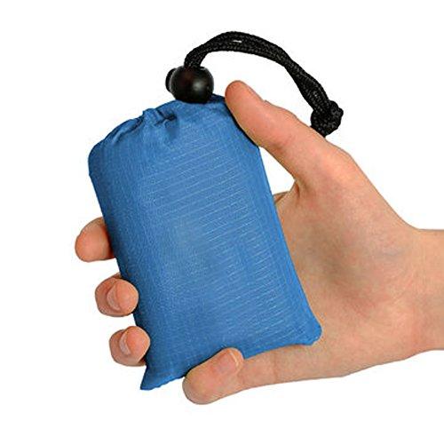 Minetom Couverture Tapis de Plage Vent Pliable Nylon Résistant au Sable Lavable à la Machine Tapis de Pique-Nique pour la Plage Extérieur Bleu 140x152cm