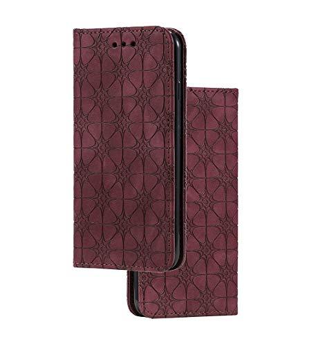 HAOYE - Funda para Huawei Y6p (cierre magnético, función atril), diseño retro en relieve, piel sintética de alta calidad, para Huawei Y6p,, Rojo, Huawei Y6p