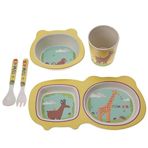 Asixxsix Juego de Platos y Cuencos para niños Juego de alimentación de Alimentos, 5 Piezas de vajilla para niños, no tóxico, ecológico para niños para niños(Giraffe)