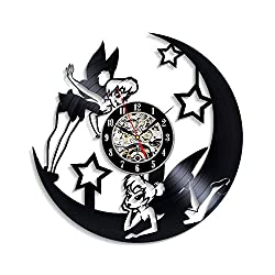Levescale - Tinkerbell Vinyl Wall Clock - Express Shipping for Children, Him, Her, Teens - Decoration for Bedroom, Kids Room - Peter Pan - Walt Disney - Valley of Fairies - Swinging