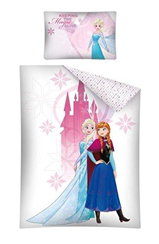 Reine des Neiges - Parure de lit Bébé 100% coton Elsa & Anna - Housse de couette + taie (100x135 + 40x60 cm)