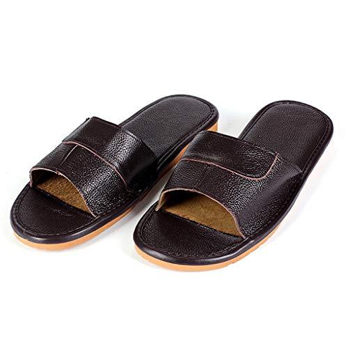 AYDQC Zapatillas Piel Hombre Mobiliario Hogar Suelo Interior Calzado Clásico Diapositivas Casuales Sandalias Piel (Color : Black, Size : 14)