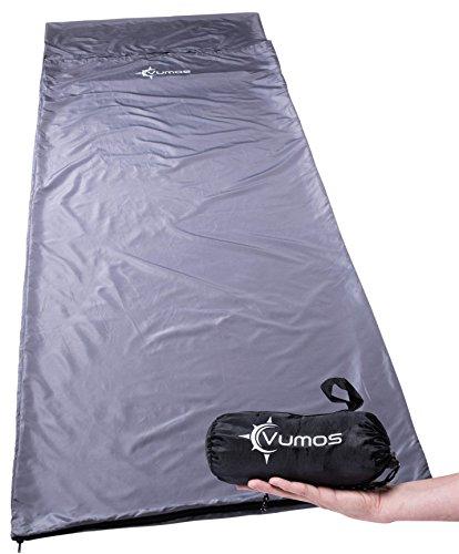 Vumos Sleeping Bag Liner and Camping Sheet - Silk Like Material for Travel - Has Full Length Zipper - Gray