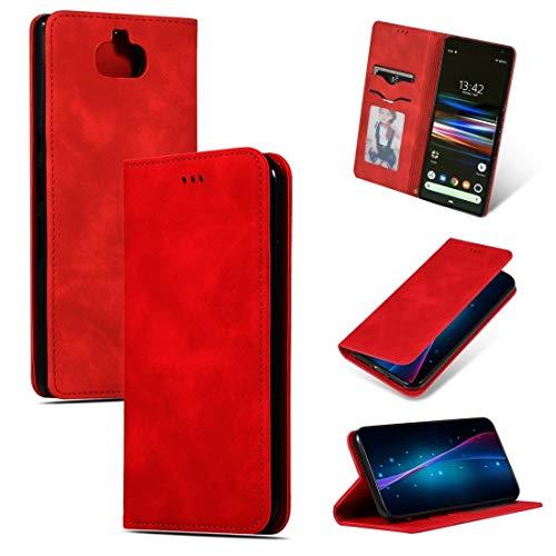 ZAORUN Cubiertas Protectoras de Cellphone Estuche de Cuero con Tiras horizontales Magnetic Retro de Feel Compatible for Empresas Xperia 10 Plus y Xperia XA3 Ultra de Sony (Color : Red)