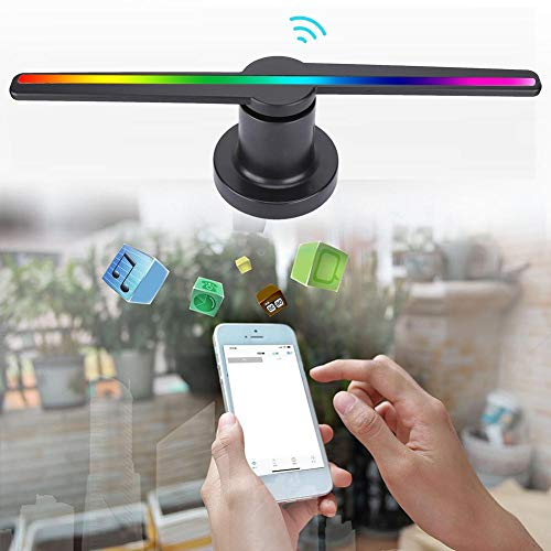 3D Holographic Fan, LED 3D Hologram Player HD Advertising Display Phone WiFi Control Projector, for Signs, Restaurants, Trade Show, Nightclubs(Black)