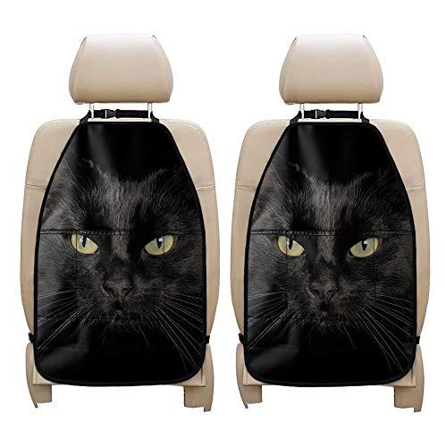 chaqlin Organizador universal para asiento trasero de coche, juego de 2 piezas, diseño de gato negro, protector de asiento trasero, accesorios de viaje, bolsillos de almacenamiento