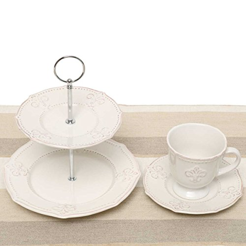 Whitish Grey/Cream Fleur de Lis 5 Piece Tea Setting with 2 Cups, 2 Saucers, and a Two-Tiered Serving Dish