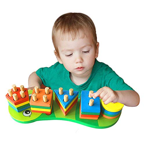 Holz Form Sorter Puzzle, geometrischer Stapler Stapelblocks, geometrische Formen Educational Holzspielzeug, Farbe und Geometrie Anerkennung for 1-5 Jahre alt Junger Mädchen zcaqtajro