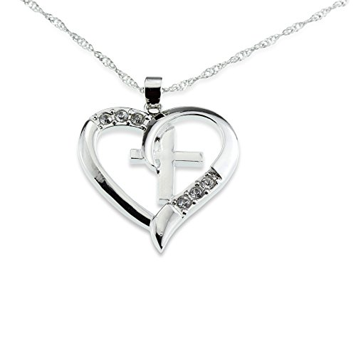 Embolden Jewelry Silver Christian Cross & Heart Pendant [I Love Jesus] CZ Necklace - Amazing Mothers Day, Easter for Girls Teens & Women