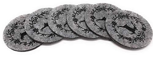 Boltze - Set di 6 sottobicchieri in feltro Leopold con cervo, Ø 10 cm, colore: Beige