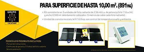 Kit suelo radiante eléctrico hasta 10m2 mediante folio radiante Cecather + Cronotermostato...