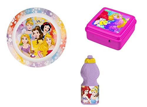 Irpot Ensemble de collations Princess Disney apporte collation + Plat + Bouteille d'eau