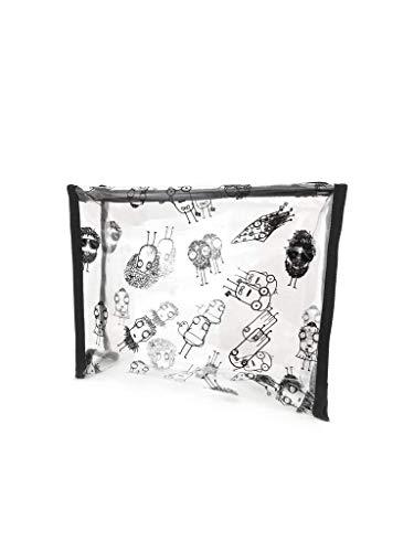 Quipster Vinyl Witzige Kulturtasche für Damen und Herren in 26 x 20 x 7cm - Durchsichtige Waschtasche für Reisen - PVC - Ohne Weichmacher - Kleine Reisetasche für Kosmetika