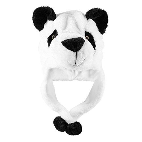 Panda Bear Plush Animal Winter Ski Hat Beanie Aviator Style Winter (Short) White