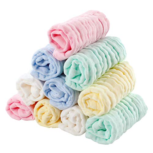 EXTSUD 10PCS Toallitas de Muselina para Bebés Toallas Suaves para Bebés, Recién Nacidos, Toallitas Algodón, 25 x 25cm