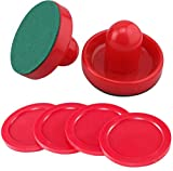 GIYOMI Light Weight Air Hockey Red Replacement Pucks & Slider Pusher Goalies for Game Tables, Accessories,Equipment (2 Striker, 4 Puck Pack)