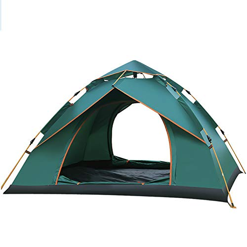 Dome Tent 2 Doors And 1 Windows, Pop Up Tents for 3 To 4 Person Automatic Opening Double Layer Tent, Waterproof Camping Tents with Porch for Outdoor Hiking Beach