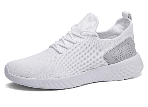 Pyjacos Zapatillas de Deporte Respirable Sneakers Zapatillas Running para Unisex Blanco,47EU