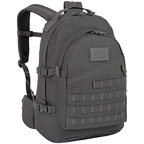 Sac à dos tactique d'assaut militaire Highlander - Le sac de jour Recon 40L imperméable avec de nombreuses attaches MOLLE pour d'autres accessoires et équipements (Gris)