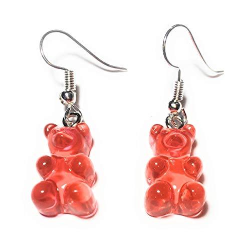 FizzyButton Geschenke Durchlässiger Gummibärchen Jelly Baby (Rot-Orange) Tropfen-Ohrringe mit Silber überzogenen Ohrhaken