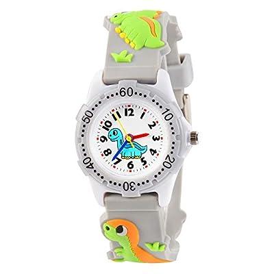 VIVIKEN Kids Watch 3D Cartoon Waterproof Children Toddler Wrist Watch Time Teacher Birthday Gift Toys for 3 4 5 6 7 8 9 10 Year Boys Girls Little Child-Gray Dinosaur