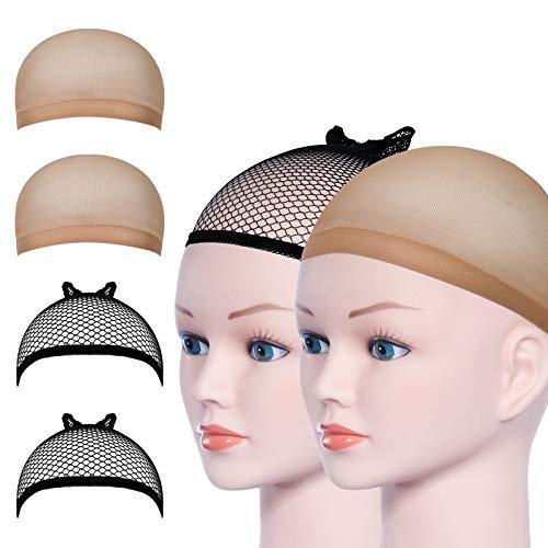 URAQT Wig Cap,Perücke Kappen Caps Nylon Haarnetz Dehnbare,Perückekappe Schwarz Mesh und Neutral Nackt Beige, Elastische Netz Perückennetz(4pcs)