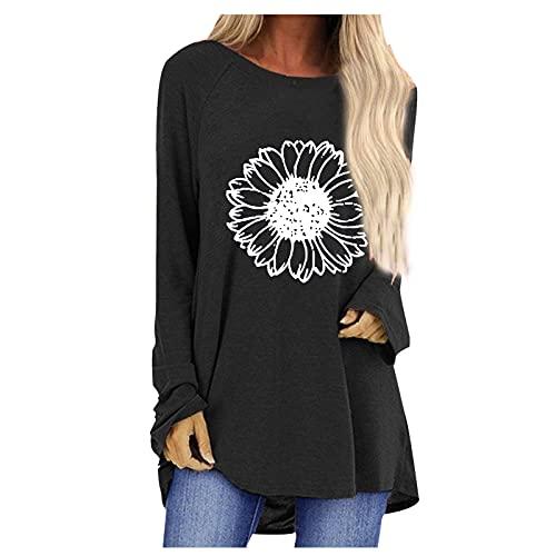 neiabodos Elegante blusa de mujer de manga larga con estampado de girasoles para mujer, camiseta de cuello...