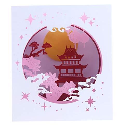 4D Pop-up Box Karte Vintage exotische Palast Pavillon Geburtstag Hochzeitstag Valentinstag Muttertag chinesische Laterne Lotus Party Liebe