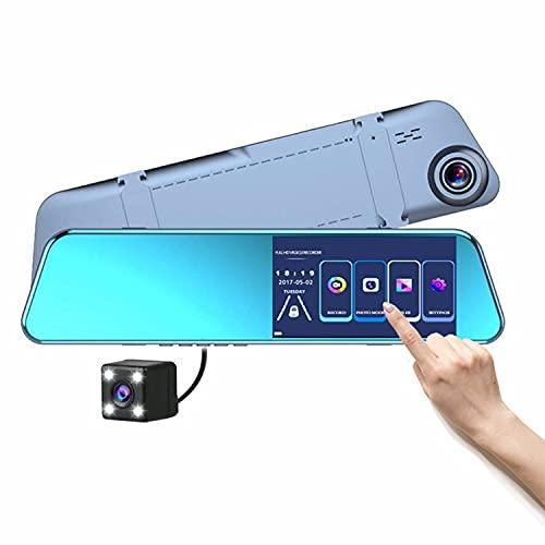 TONG Grabador De Conducción con Espejo Retrovisor De 5,18 Pulgadas, Cámara De Grabación Dual De 1080p, Imagen De Marcha Atrás, Sensor G, Monitorización De Aparcamiento, Detección De Movimiento.