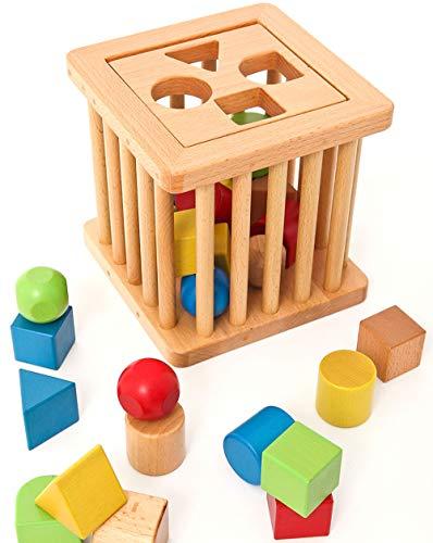 JSKLDF Clasificador de formas de madera, juguetes para niños pequeños, juego de clasificación para bebés, aprendizaje de colores, juego educativo preescolar para niños pequeños, regalo de cumpleaños p