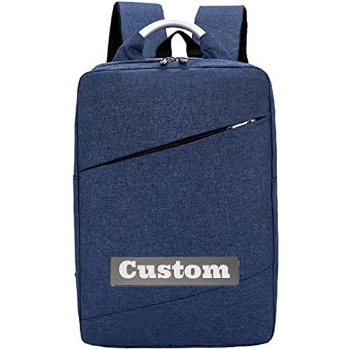 FireH Nome personalizzato leggero 15.6 Zaino per laptop Donna Slim Zaino Slim Zaino Laptop impermeabile (Color : Blue, Size : One size)