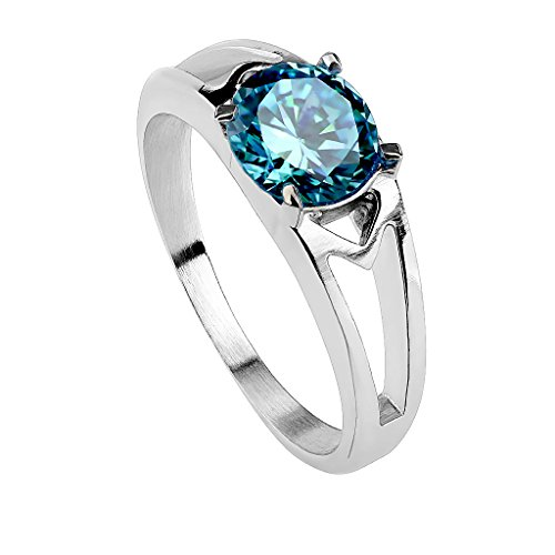 Piersando Damen Ring Edelstahl poliert mit Zirkonia Stein in Diamant Form Damenring Trauring Verlobungsring Silber Aqua Größe 49 (15.6)