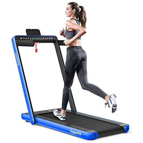 Goplus 2 in 1 Folding Treadmill with Dual Display, 2.25HP Superfit Under Desk Electric Pad Treadmill, Installation-Free, Blue Tooth Speaker, Remote Control, Walking Jogging Machine for Home/Office Use