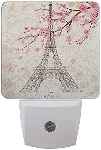 Lámpara de sensor para dormitorio, baño, cocina, pasillo, escaleras, torre Eiffel de cerezo, color rosa, juego de 2 luces LED enchufables para noche