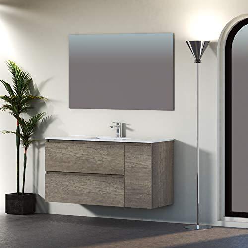 Baikal 830134050 Conjunto de Mueble de Baño con Lavabo y Espejo, Suspendido a la Pared, Dos Cajones y Una Puerta, Melamina...