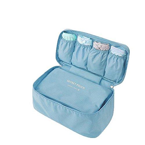 Jecxep multifunzione sacchetto viaggio biancheria intima organizzatori manico divisori reggiseno di storage Wash bag, Blue (Rosa) - Jecxep