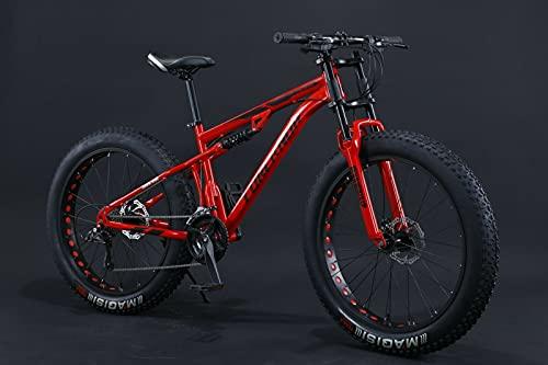 Fat Bike 24 26 pollici Mountain Bike Sospensioni complete con pneumatici grandi (rosso, 24 pollici, 21 Gears)